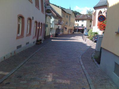 Eppsteiner Altstadt, aus voller Fahrt fotografiert. Dadurch kommt die Verzerrung, die Häuser sind sonst gerade